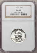 Washington Quarters: , 1939-S 25C MS67 NGC. NGC Census: (32/0). PCGS Population (25/0).Mintage: 2,628,000. Numismedia Wsl. Price for problem free...