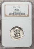 Washington Quarters: , 1940-S 25C MS67 NGC. NGC Census: (147/1). PCGS Population (48/1).Mintage: 8,244,000. Numismedia Wsl. Price for problem fre...