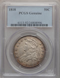 Bust Half Dollars, 1818 50C PCGS Genuine. The PCGS number ending in .92 suggestscleaning as the reason, or perhaps one of the reasons, that P...