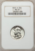 Washington Quarters: , 1942-S 25C MS67 NGC. NGC Census: (61/0). PCGS Population (31/1).Mintage: 19,384,000. Numismedia Wsl. Price for problem fre...