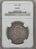Bust Half Dollars: , 1812 50C XF45 NGC. NGC Census: (85/545). PCGS Population (109/500).Mintage: 1,628,059. Numismedia Wsl. Price for problem f...