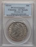 Bust Half Dollars: , 1824/4 50C -- Cleaned -- PCGS Genuine. AU Details. O-110. NGCCensus: (6/72). PCGS Population (8/75). (#6140)...