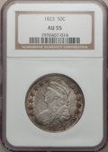 Bust Half Dollars: , 1823 50C AU55 NGC. NGC Census: (81/348). PCGS Population (97/284).Mintage: 1,694,200. Numismedia Wsl. Price for problem fr...