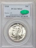 Walking Liberty Half Dollars: , 1938 50C MS66 PCGS. CAC. PCGS Population (520/66). NGC Census:(280/38). Mintage: 4,118,152. Numismedia Wsl. Price for prob...