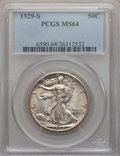 Walking Liberty Half Dollars, 1929-S 50C MS64 PCGS....