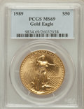 Modern Bullion Coins: , 1989 G$50 One-Ounce Gold Eagle MS69 PCGS. PCGS Population (582/9).NGC Census: (737/5). Mintage: 415,790. Numismedia Wsl. P...