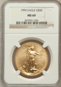 Modern Bullion Coins: , 1992 G$50 One-Ounce Gold Eagle MS69 NGC. NGC Census: (706/29). PCGS Population (481/6). Mintage: 275,000. Numismedia Wsl. P...