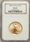Modern Bullion Coins, 2006-W $25 Half Ounce Gold Eagle MS69 NGC. NGC Census: (2963/4287).PCGS Population (5231/1629). Numismedia Wsl. Price for...