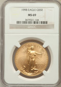 Modern Bullion Coins: , 1998 G$50 One-Ounce Gold Eagle MS69 NGC. NGC Census: (1337/123).PCGS Population (1700/73). Numismedia Wsl. Price for prob...