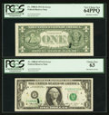 Error Notes:Ink Smears, Fr. 1908-D $1 1974 Federal Reserve Notes. Two Consecutive Examples.PCGS Choice New 63-Very Choice New 64PPQ.. ... (Total: 2 notes)