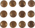 Militaria:Insignia, Group Of Twelve Coat Size Confederate Infantry Officer's Script I Buttons - Isaacs Campbell & Co.... (Total: 12 )