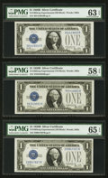 Small Size:Silver Certificates, Fr. 1602 $1 1928B Silver Certificates. Three Experimental Examples. PMG Gem Uncirculated 65 EPQ, Choice Uncirculated 63 EPQ & ... (Total: 3 notes)