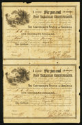 Confederate Notes:Group Lots, Ball 366 Cr. 154 $1000 1864 Six Per Cent Non Taxable CertificateUncut Pair Fine.. ...