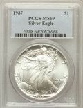 Modern Bullion Coins: , 1987 $1 Silver Eagle MS69 PCGS. PCGS Population (5975/10). NGCCensus: (83525/281). Mintage: 11,442,335. Numismedia Wsl. Pr...