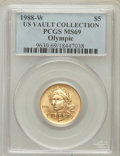 Modern Issues, 1988-W G$5 Olympic Gold Five Dollar MS69 PCGS. Ex: US VaultCollection. PCGS Population (2756/239). NGC Census: (1092/1184)...