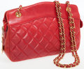 Luxury Accessories:Bags, Chanel Red Lambskin Leather Shoulder Bag with Gold Hardware. ...