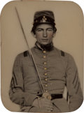 Photography:Ambrotypes, Great Silhouetted Ninth Plate Ambrotype Of A Confederate Sergeant In Thermoplastic Case. ...
