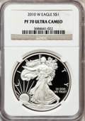 Modern Bullion Coins, 2010-W $1 One-Ounce Silver Eagle PR70 Ultra Cameo NGC. NGC Census:(5405). PCGS Population (1303). Numismedia Wsl. Price f...