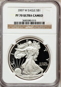 Modern Bullion Coins, 2007-W $1 One-Ounce Silver Eagle PR70 Ultra Cameo NGC. NGC Census:(7038). PCGS Population (1608). Numismedia Wsl. Price f...