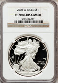 Modern Bullion Coins, 2008-W $1 One-Ounce Silver Eagle PR70 Ultra Cameo NGC. NGC Census:(11950). PCGS Population (1039). Numismedia Wsl. Price ...