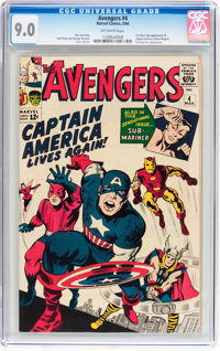 The Avengers #4 (Marvel, 1964) CGC VF/NM 9.0 Off-white pages