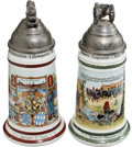 Military & Patriotic:WWI, Pair of Imperial German Reproduction Bavarian Reservists' PorcelainSteins.... (Total: 2 Items)