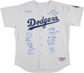 Baseball Collectibles:Uniforms, 1981 Los Angeles Dodgers Team Signed Jersey. ...
