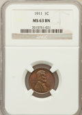 Lincoln Cents: , 1911 1C MS63 Brown NGC. NGC Census: (96/180). PCGS Population(36/74). Mintage: 101,177,784. Numismedia Wsl. Price for prob...