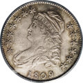 Bust Half Dollars: , 1809 50C MS63 PCGS. O-106, R.3. Dove-gray and tan-brown toninggraces smooth satin surfaces. The strike is crisp, save for ...
