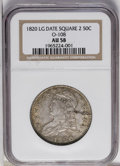 Bust Half Dollars: , 1820 50C Square Base No Knob 2, Large Date AU58 NGC. O-108, R.2. Atrace of highpoint friction keeps this piece from Mint S...