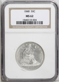 Seated Half Dollars: , 1848 50C MS62 NGC. Bright and untoned with shimmering, silver-whitesurfaces. Die polish lines in the fields provide a plea...