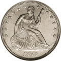 Proof Seated Half Dollars: , 1859 50C PR63 Cameo NGC. Type One Reverse. The tops of LF in HALFare close. This brilliant proof comes from only the secon...