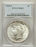 Peace Dollars: , 1926-S $1 MS62 PCGS. PCGS Population (951/4874). NGC Census:(673/3626). Mintage: 6,980,000. Numismedia Wsl. Price for prob...