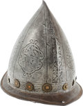 Militaria:Armor, Etched and Engraved Italian Cabasset, Circa 17th Century....