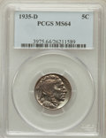 Buffalo Nickels: , 1935-D 5C MS64 PCGS. PCGS Population (1098/573). NGC Census:(585/307). Mintage: 12,092,000. Numismedia Wsl. Price for prob...