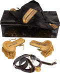 Militaria:Uniforms, United States Naval Officer's Full Dress Epaulettes, Fore-and-Aft Hat, and Sword Belt, in the Original Enameled Case, Circa 19...