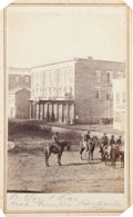 """Photography:CDVs, Rare Carte-De-Visite View Of A Small Group Of Mounted Louisiana Troops In The Center of A Town Identified As """"Head Quarters Hu..."""