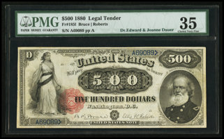 Featured item image of Fr. 185l $500 1880 Legal Tender PMG Choice Very Fine 35.  ...