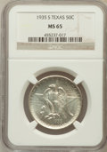 Commemorative Silver: , 1935-S 50C Texas MS65 NGC. NGC Census: (505/521). PCGS Population(833/450). Mintage: 10,000. Numismedia Wsl. Price for pro...