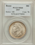 Commemorative Silver: , 1937 50C Boone MS64 PCGS. PCGS Population (626/1209). NGC Census:(368/865). Mintage: 9,810. Numismedia Wsl. Price for prob...