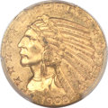 Indian Half Eagles, 1908-S $5 MS61 PCGS....