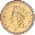 Three Dollar Gold Pieces, 1854-O $3 AU55 NGC. CAC. Variety 2....