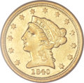 Liberty Quarter Eagles, 1840-C $2 1/2 AU50 PCGS. Variety 1....
