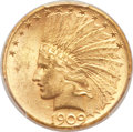 Indian Eagles, 1909-S $10 MS62+ PCGS....
