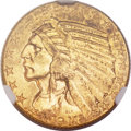 Indian Half Eagles, 1911-D $5 MS60 NGC. CAC....