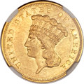 Three Dollar Gold Pieces, 1855-S $3 AU50 NGC....