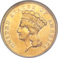 Three Dollar Gold Pieces, 1856-S $3 AU53 NGC....