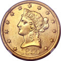 Liberty Eagles, 1854-O $10 Large Date AU58 NGC. Variety 3....