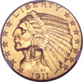Indian Half Eagles, 1911-D $5 AU58 NGC....