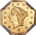 California Fractional Gold, 1866 25C Liberty Octagonal 25 Cents, BG-739, High R.7, MS62 NGC....